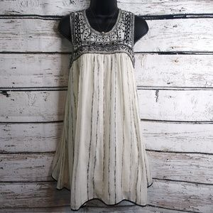 Free People/ Creamy Embroidered Beaded Dress
